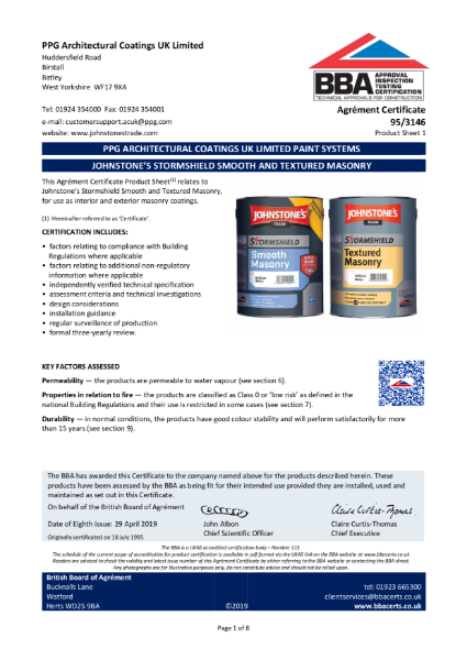 Stormshield Smooth Masonry BBA Certificate 95/3146.