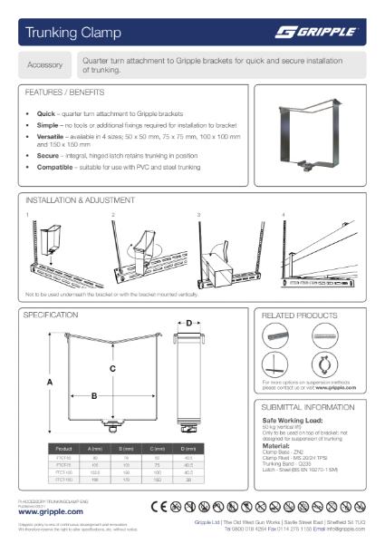 Fast Trak Trunking Clamp PI Sheet
