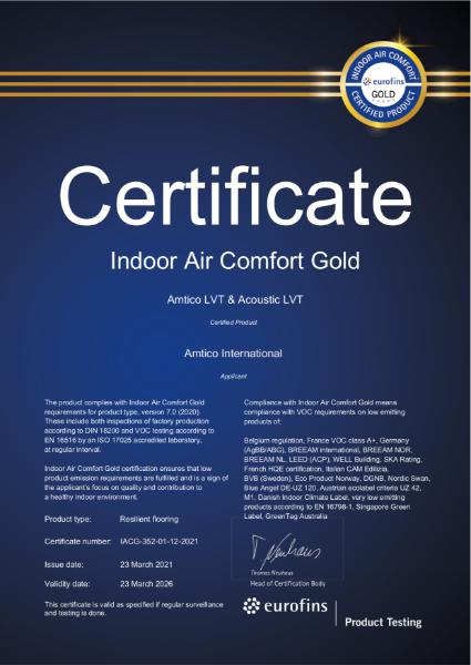 IAC Gold Certificate LVT and LVT Acoustic