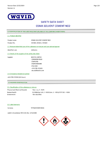 MSDS - OSMA Solvent Cement No2