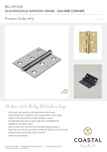 BLU™ - HY3 Slim Knuckle Window Hinge Data Card