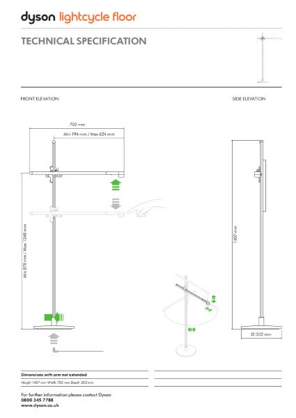 Dyson Lightcycle Floor - Technical Specification