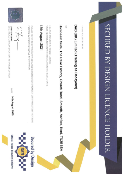 Secured By Design Certificate 2020-2021