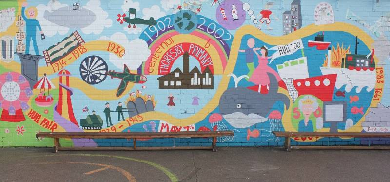 The painting's on the wall with Hull school art project