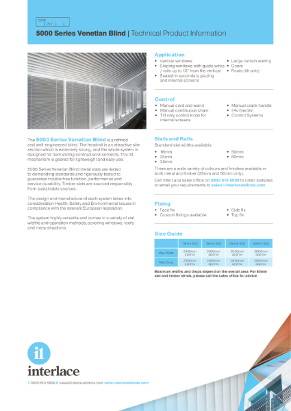 5000 Series Venetian Blind - Literature
