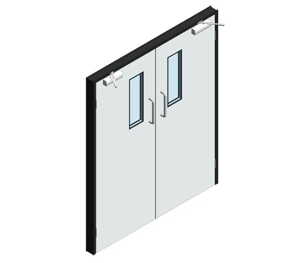 Hygienic Hinged GRP Lead Lined Doors - Single leaf (GRP frame)