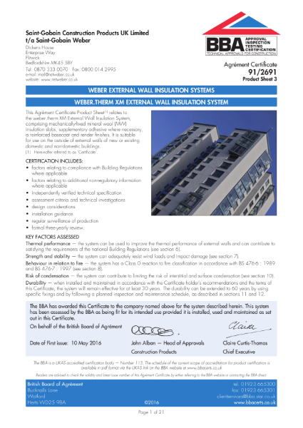 91/2691 Weber.Therm XM External Wall Insulation System (Product Sheet 3)