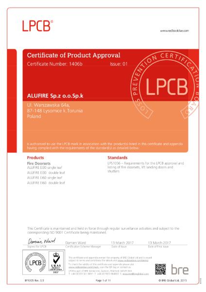 BRE certificate Alufire Doors C1406b-01