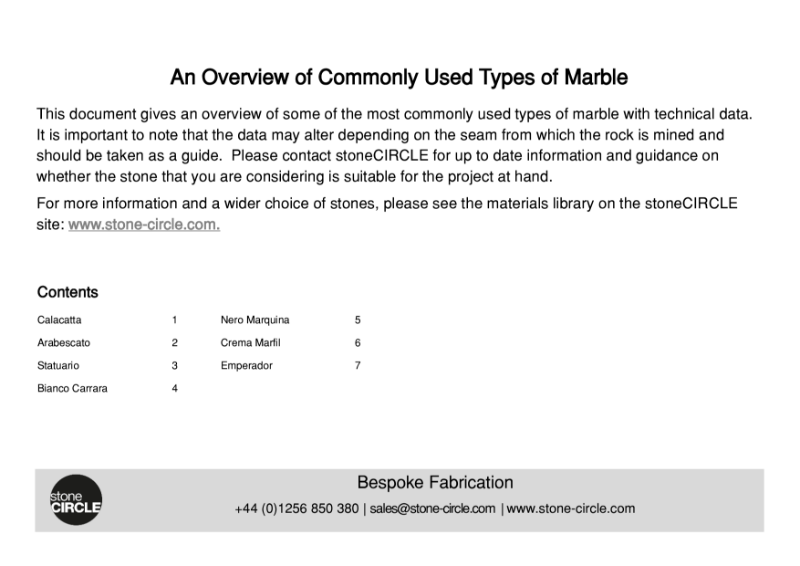 Commonly Used Types of Marble