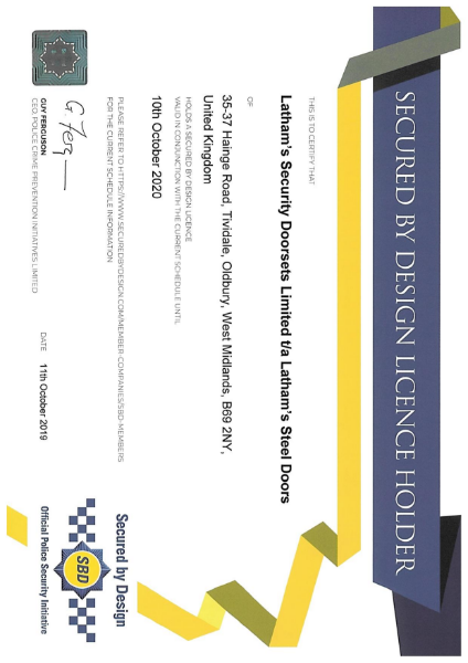 Secured by Design Licence Certificate