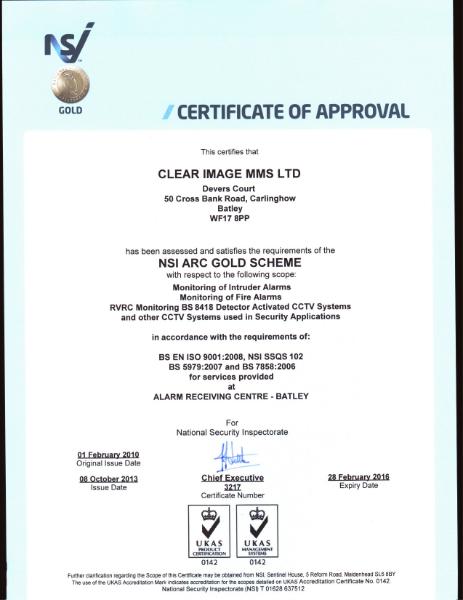 NSI Arc Gold Scheme Certificate