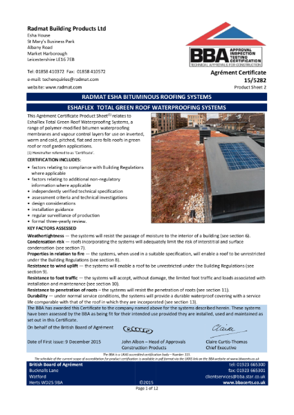 BBA EshaFlex Total Green Roof Waterproofing Systems