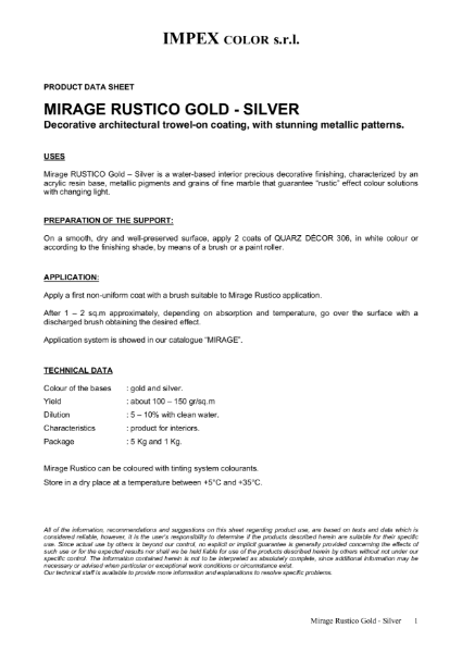 Polished Plaster - Mirage Rustico, Metallic Paint Effect