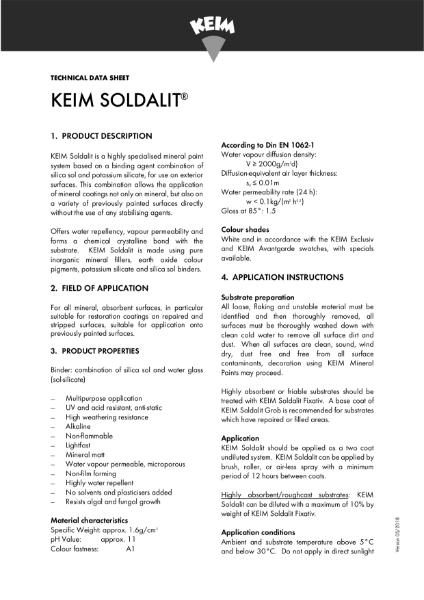 Keim Soldalit Technical Data Sheet