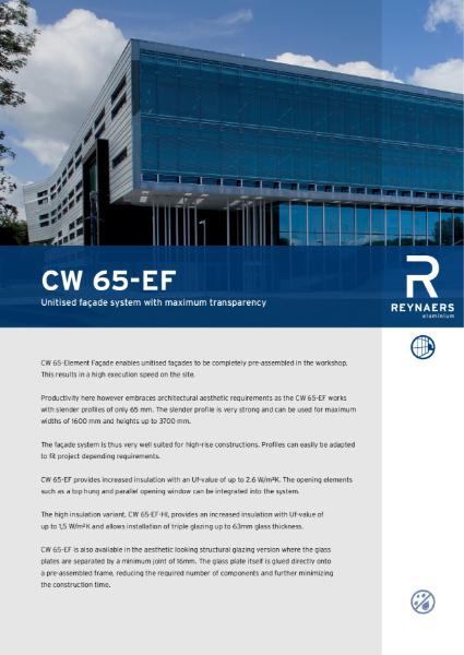Aluminium Unitised Curtain Wall - CW 65-EF