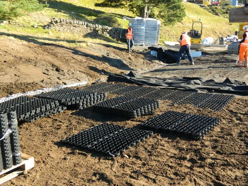 MIne Tailings Capping and Drainage - Pozidrain SKL and Erosaweb, Carrshield MIne Works, UK