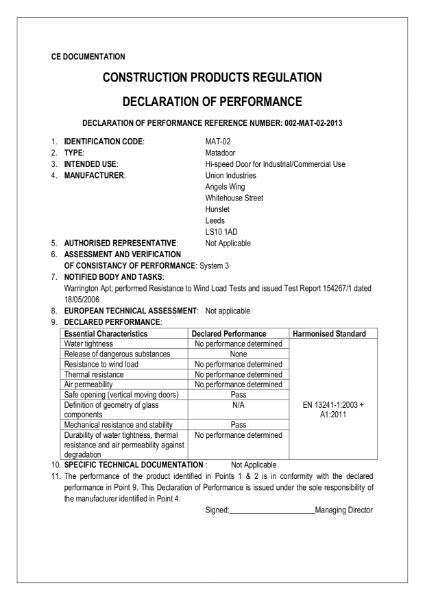 CE Declaration - Matadoor