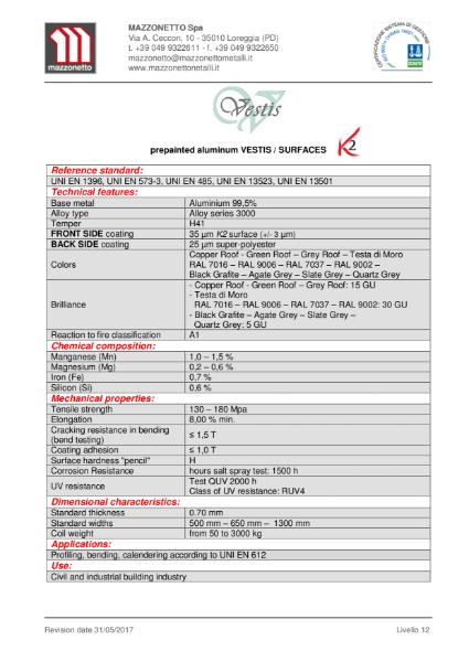 Mazzonetto Vestis Prepainted Aluminium Datasheet