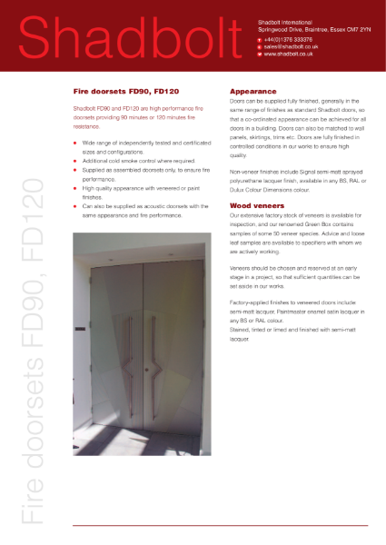 Fire doorsets FD90, FD120
