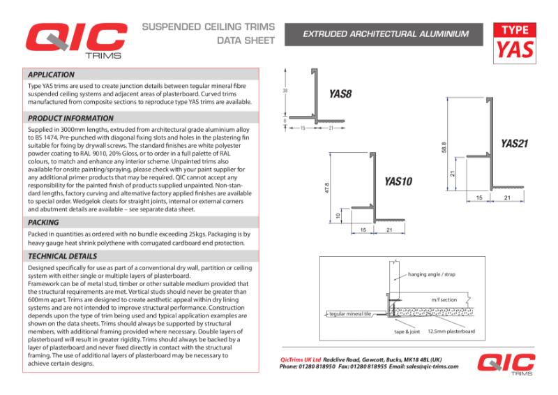 QIC Transition trims mineral fibre ceilings YAS