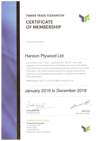 TTF Membership Certificate