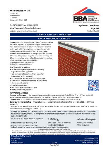 11/4857 Supafil® 34 Cavity Wall Insulation
