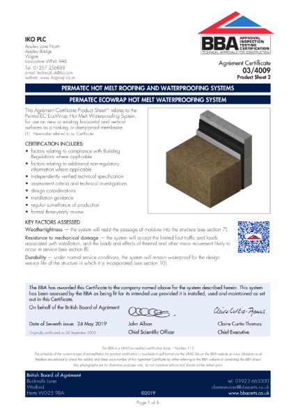 03/4009_2 PERMATEC HOT MELT ROOFING AND WATERPROOFING SYSTEMS