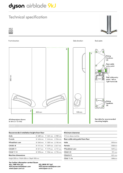 Technical specification - Dyson Airblade 9KJ