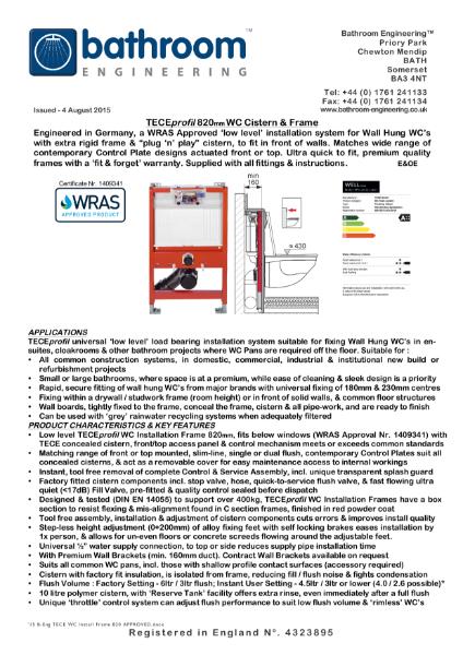 H82 WC Frame, Cistern Frame, TECEprofil