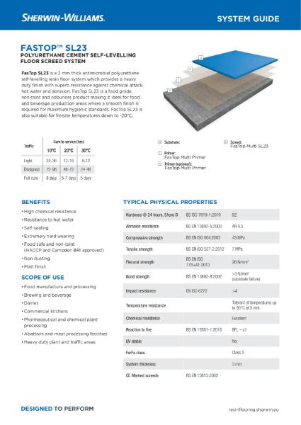 Resin flooring FasTop SL23 screed system