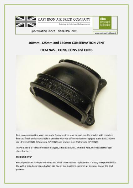Cast Iron Conservation Cowled Vent