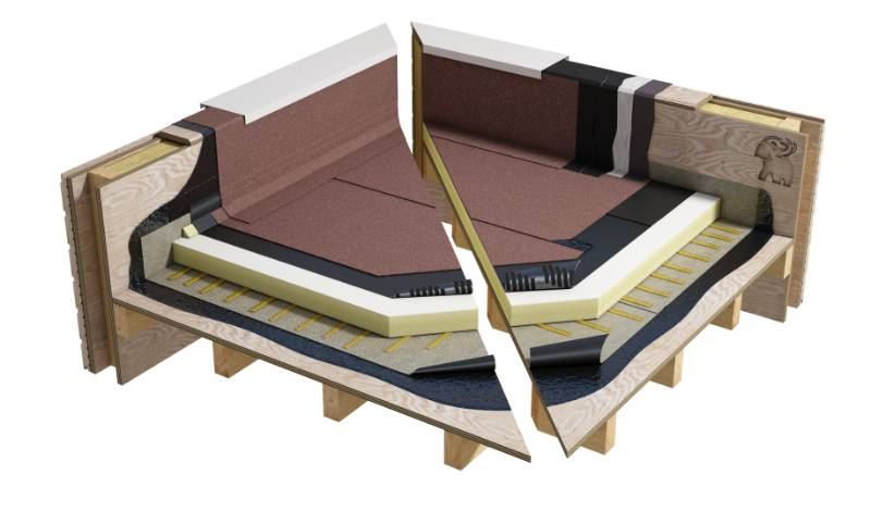 Sopralene Optima - Bituminous warm roof system on wood (WNB1PGPSBF_001)