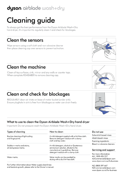 Cleaning guide - Dyson Airblade Wash + Dry
