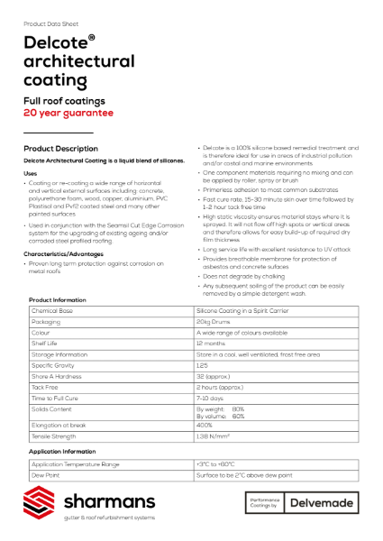 Delcote architectural coating product data sheet
