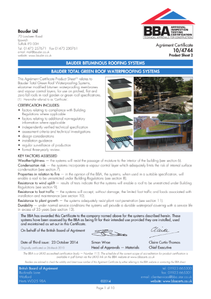 BAUDER TOTAL GREEN ROOF WATERPROOFING SYSTEMS