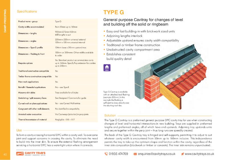 Cavity Trays Ltd Type G horizontal cavity tray lean to flat roof
