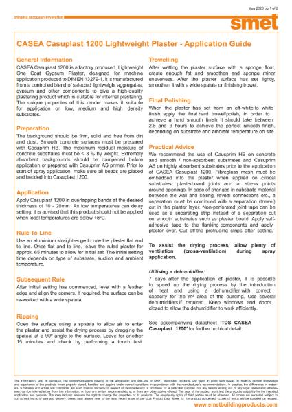 Application Guide CASEA Casuplast 1200 - Lightweight One Coat Gypsum Plaster