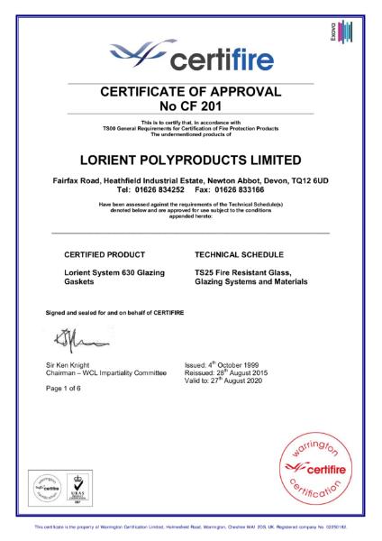 CF201 Certifire Certificate