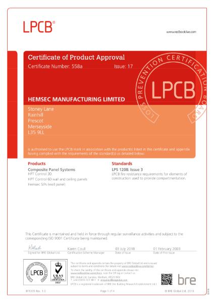 Hemsec LPCB LPS 1208 Certificate 558a