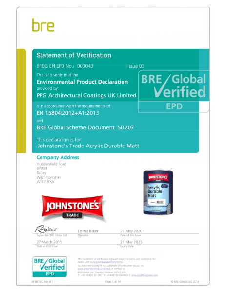 Environmental Product Declaration (EPD) : BREG EN EPD No.: 000043