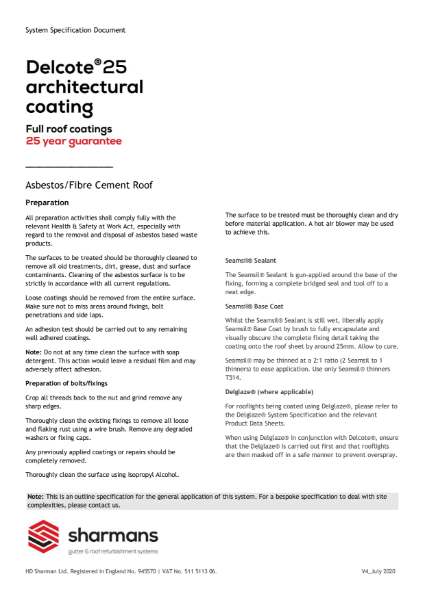 Delcote architectural coating specification (asbestos / fibre cement roof)