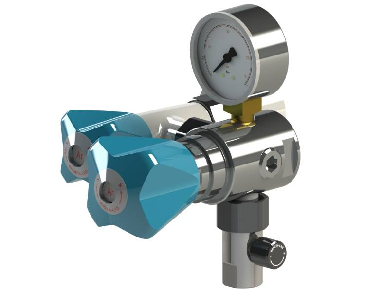 Wall mounted pure gas tap for exposed piping. With isolation, regualtor and flow valve.