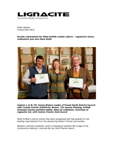 Lignacite's Green credentials just won them Gold