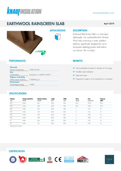 Knauf Insulation RainScreen Slab Insulation Data Sheet