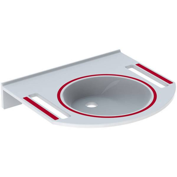 Publica washbasin, round design, with cut-outs, barrier-free, dementia-sensitive