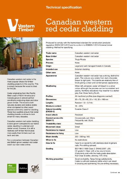 Canadian western red cedar profiled external timber Cladding