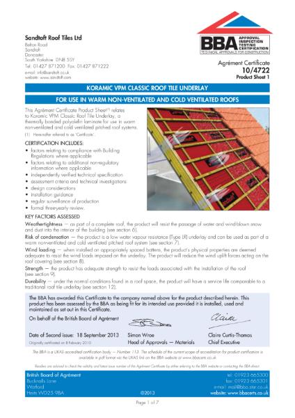 10/4722 Koramic VPM Classic Roof Tile Underlay