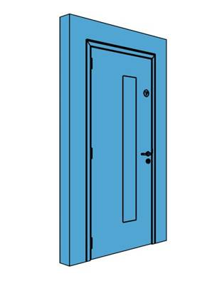 Single Metal Office Store Door with Vision Panel