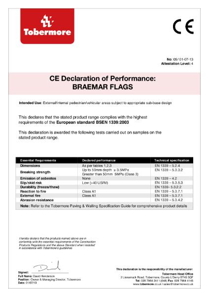 Braemar Flags CE. European Standard BSEN 1339:2003