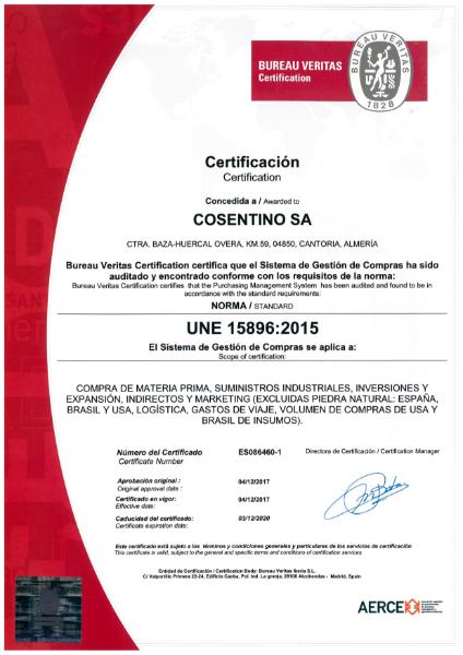 SILESTONE Certificate UNE15896
